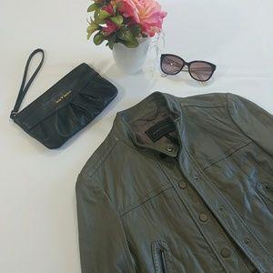 BCBGMaxAzria Genuine Leather Crop Biker Jacket